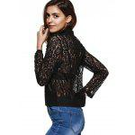 Sweet Long Sleeve Lapel Zipper Fly Lace Jacket for sale