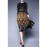 Peacock Print Sheer Swing Dress - BLACK
