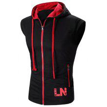Zip Up Color Block Hooded Vest