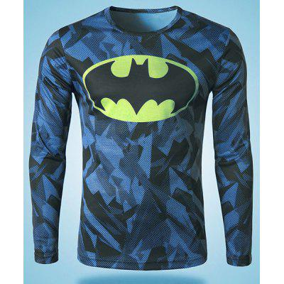 Modish Round Neck 3D Batman Print Slimming Long Sleeve Polyester Quick-Dry T-Shirt For Men