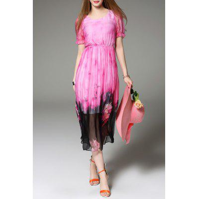 Floral Print Silk Mid-Calf Dress