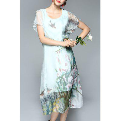 Plant Print Midi Chiffon Dress