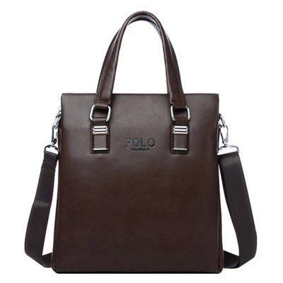 Retro Letter and PU Leather Design Tote Bag For Men