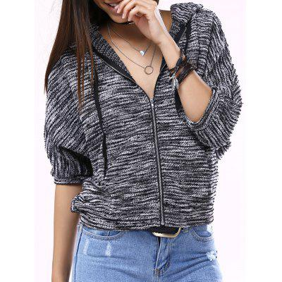 Stylish Batwing Sleeve Hooded Women's Knit Coat