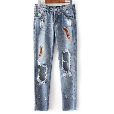 Low Waist Ripped Leather Embroidery Jeans