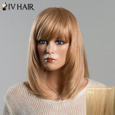 Stylish Full Bang Siv Hair Capless Straight Medium Human Hair Wig For Women