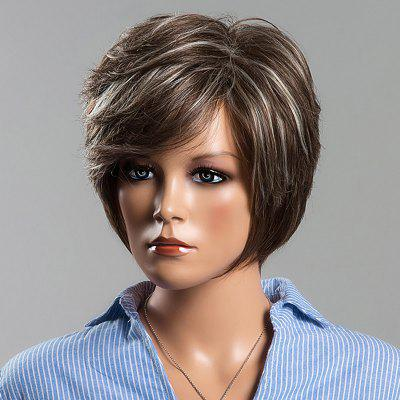 Trendy Mixed Color Siv Hair Capless Straight Layered Human Hair Wig For Women