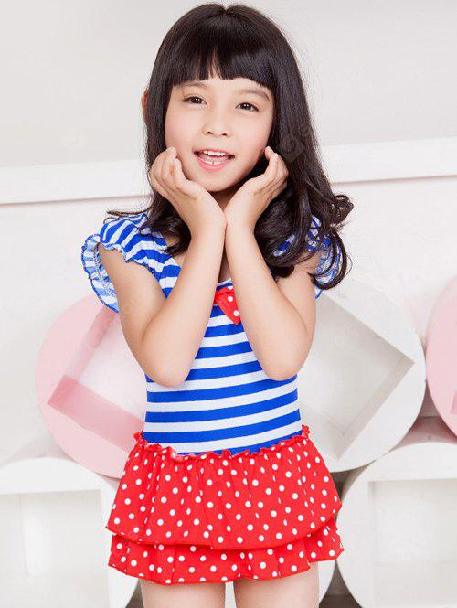 Short Sleeve Striped Polka Dot Flounced Swimwear