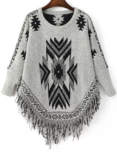BLACK AND GREY Stylish Round Neck Long Sleeve Geometric Tassels Women's Jumper