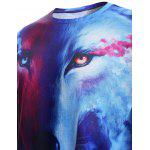 Round Neck 3D Starry Sky and Wolf Print Trippy T-Shirt - COLORMIX
