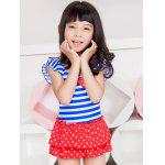 Short Sleeve Striped Polka Dot Flounced Swimwear - BLUE