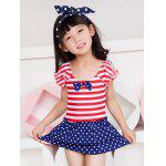 Short Sleeve Striped Polka Dot Flounced Swimwear - ROUGE