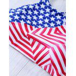 Halter Flag Print Bikini Patriotic Swimwear - BLUE AND RED