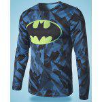 Buy Modish Round Neck 3D Batman Print Slimming Long Sleeve Polyester Quick-Dry T-Shirt Men COLORMIX