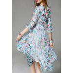 cheap Floral Print 3/4 Sleeve Silk Dress