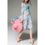 best Floral Print 3/4 Sleeve Silk Dress