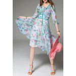 Floral Print 3/4 Sleeve Silk Dress deal
