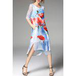 best Floral Print Slit Layered Dress