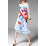 Floral Print Slit Layered Dress for sale