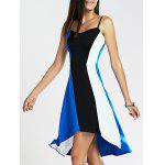 Spaghetti Strap Color Blocks High-Low Summer Dress - BLUE AND BLACK