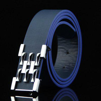 Stylish Silver Abstract Geometry Shape Embellished Casual Belt For Men
