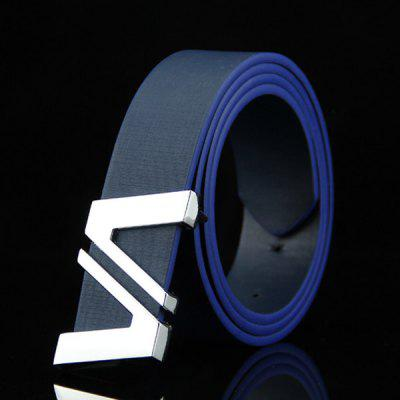 Stylish Double Cut Out Letter V Shape Embellished Casual PU Belt For Men