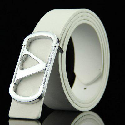 Stylish Cut Out Letter V Round Rectangle Shape Embellished Casual PU Belt For Men