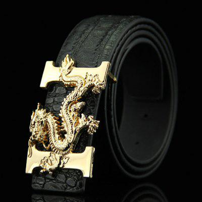 Stylish Chinese Dragon Shape Buckle Crocodile Skin Embossed Casual PU Belt For Men
