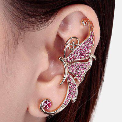 One Piece Rhinestone Butterfly Ear Cuff