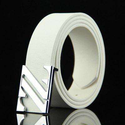 Stylish Double Letter Z Shape Embellished Casual PU Belt For Men