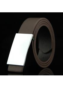Stylish Smooth White Rectangle Shape Buckle Casual PU Belt For Men