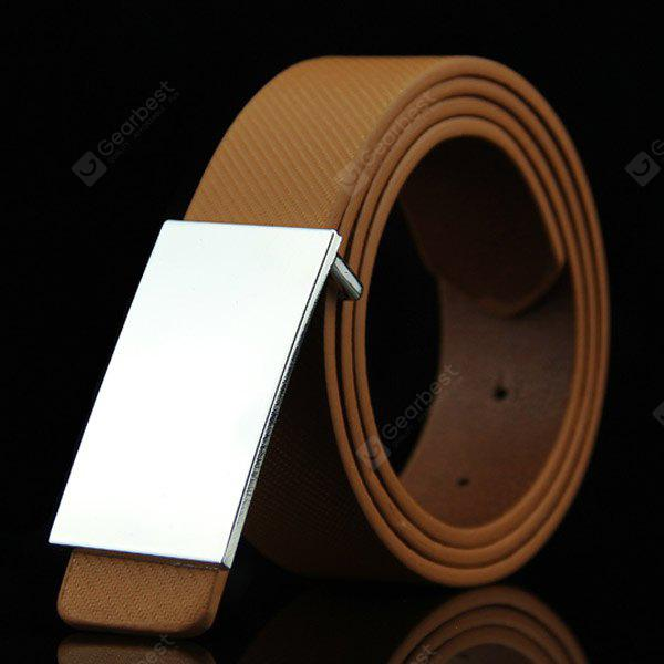 Buy Stylish Smooth White Rectangle Shape Buckle Casual PU Belt Men BROWN