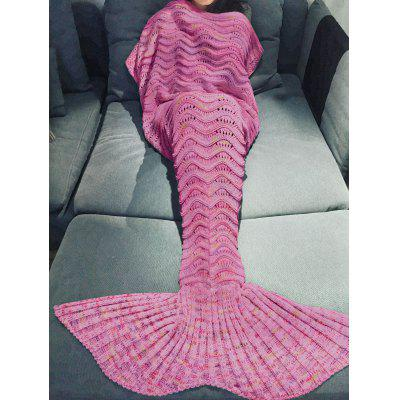 Buy PEACH RED Comfortable Multicolor Knitted Throw Mermaid Tail Design Blanket For Adult for $11.47 in GearBest store