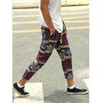 Casual Style Lace-Up Tribal Printing Slimming Narrow Feet Pants For Men - COLORMIX