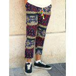 Buy Casual Style Lace-Up Tribal Printing Slimming Narrow Feet Pants Men L COLORMIX