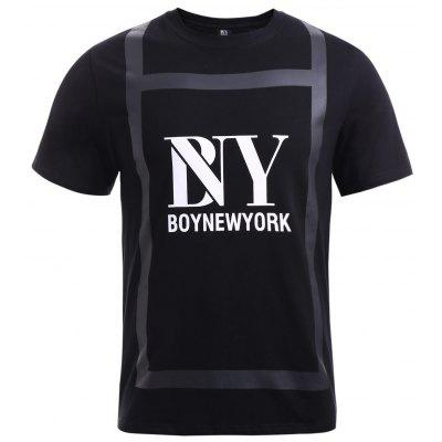 BoyNewYork Special Fabric Spliced Letters Pattern T-Shirt
