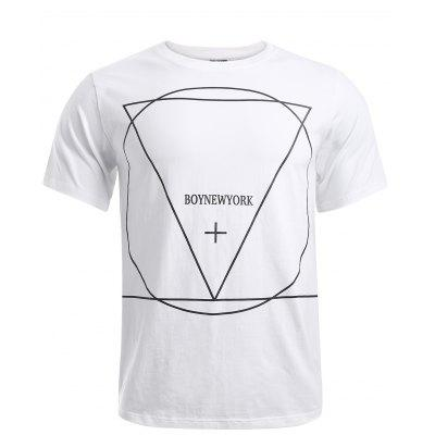 BoyNewYork Geometric Pattern Solid Color T-Shirt