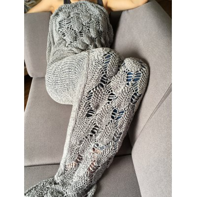 Stylish Knitted Scale and Tassels Design Mermaid Tail Shape Blanket