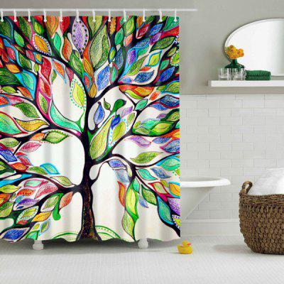 Waterproof Colorful Tree Print Shower Curtain ...