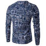 V-Neck Buttons Design Abstract Ethnic Style Pattern Long Sleeve T-Shirt For Men - BLUE