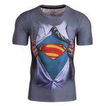Fitted 3D Superman Print Round Neck Short Sleeve Quick-Dry T-Shirt For Men - COLORMIX
