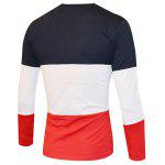 Color Splicing Round Neck Long Sleeve T-Shirt For Men - BLACK AND WHITE AND RED