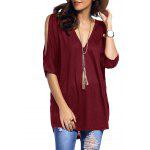 Cold Shoulder Asymmetrical Low Cut V Neck Tee - WINE RED