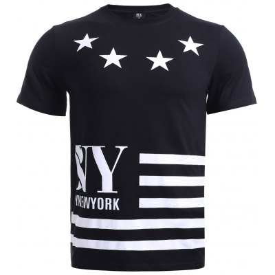 BoyNewYork Star Stripes Pattern T-Shirt