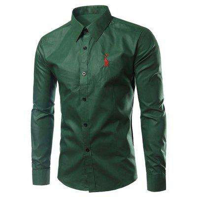 Brief Style Turn-Down Collar Slim Fit Long Sleeve Shirt For Men