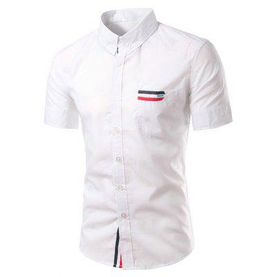 Chic Stripe Spliced Turn Down Collar Short Sleeve Shirt For Men