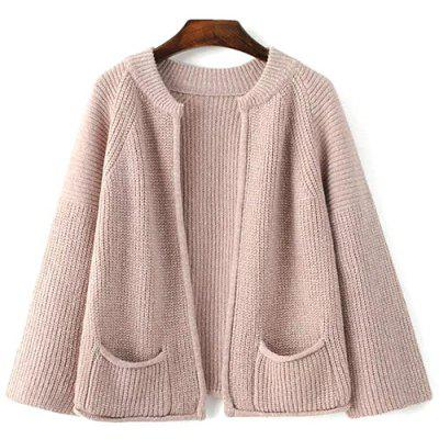 Stylish Stand Neck Long Sleeve Pockets Solid Color Cardigan For Women