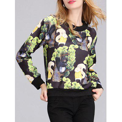 Chic Women's Round Neck Squirrel Print Sweatshirt