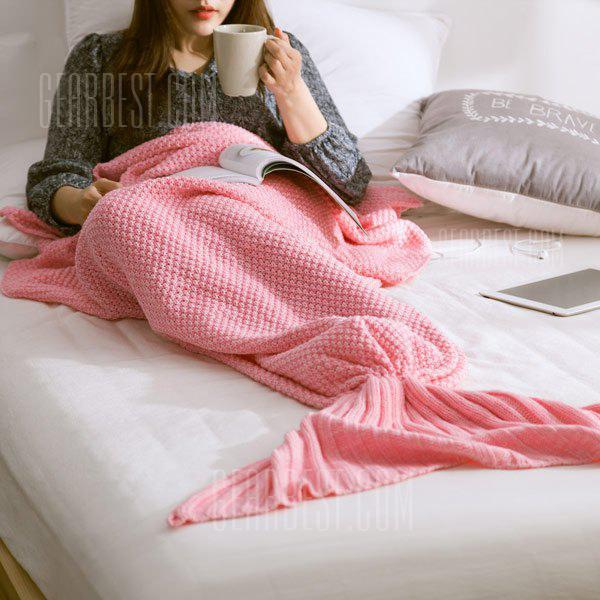 PINK M Handmade Knitted Home Decor Mermaid Tail Blanket