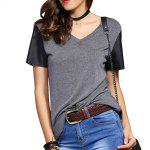 Fashionable V-Neck Color Block Metal Decoration T-Shirt For Woman - BLACK AND GREY